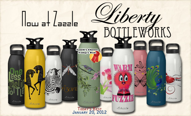 Custom Created eco friendly reusable water bottle - Zazzle and Liberty Bottleworks have teamed up - these are original custom designs
