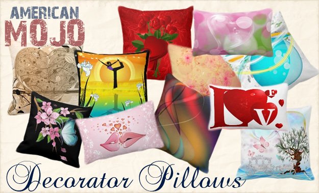 Zazzle and American MoJo  have teamed up - these are original custom designs on decorator throw pillows